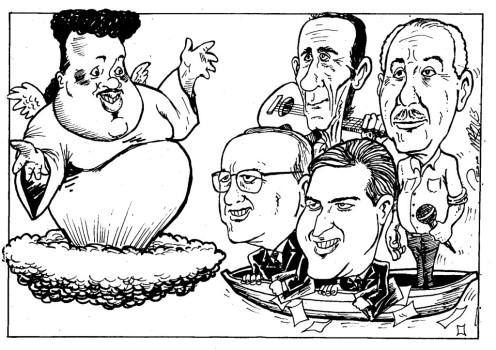 Por Pedro Marques (http://blogdopedromarques.blogspot.com.br/) - Tim Maia, Nelson Gonçalves, Dorival Caymmi, Sérgio Motta e Eduardo Magalhães.